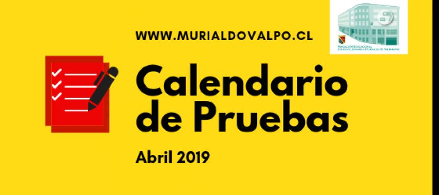 Calendario de Pruebas – Abril