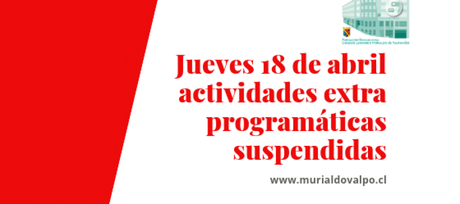 Jueves 18 de abril: Talleres Suspendidos