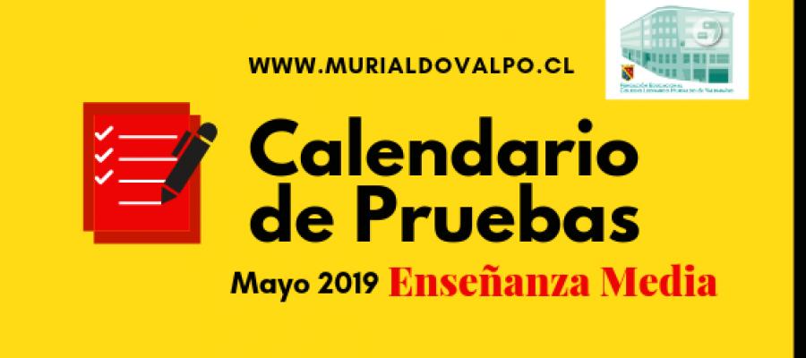 Calendario de Pruebas – Mayo – Enseñanza Media