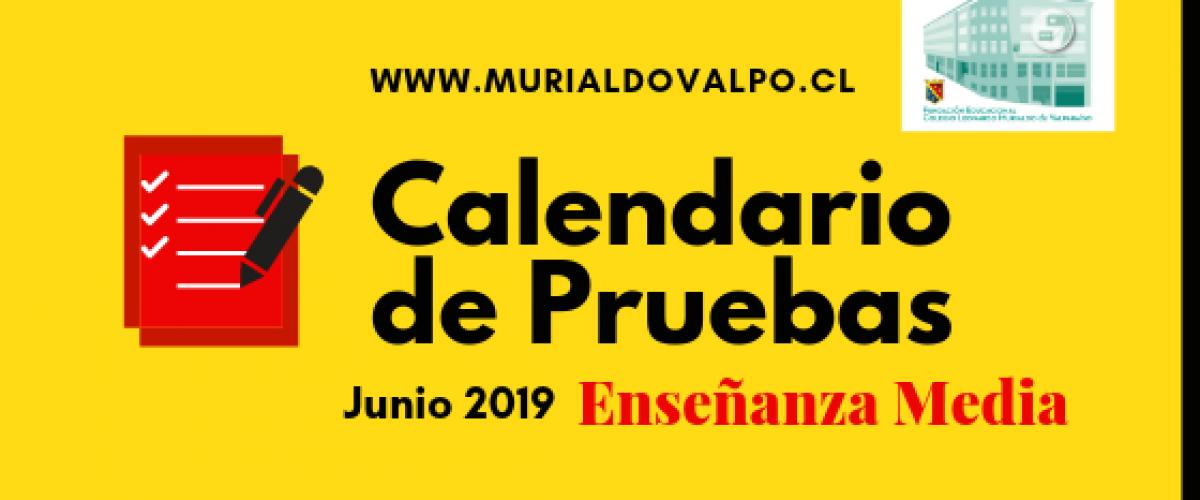 Calendario de Pruebas Junio: Enseñanza Media