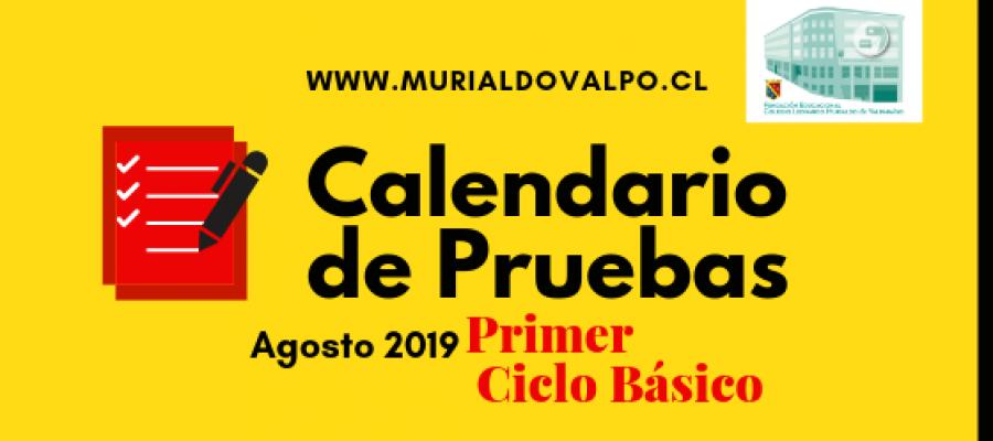 Calendario de Pruebas 1ºCiclo Básico – Agosto