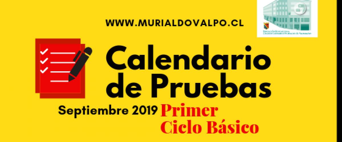 Calendario de Pruebas de Septiembre 1ºCiclo Básico