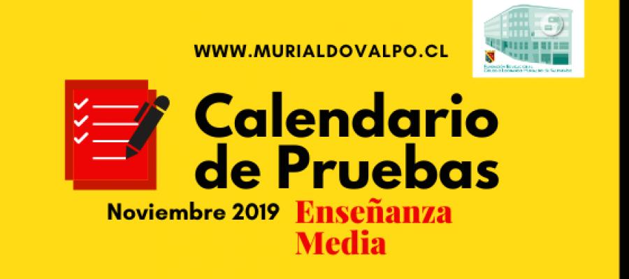 Calendario de Pruebas de Noviembre Enseñanza Media