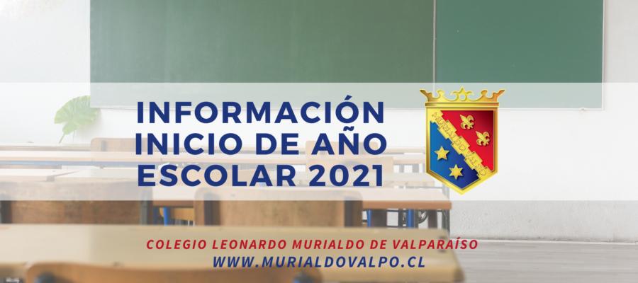 Información sobre el inicio del año escolar 2021